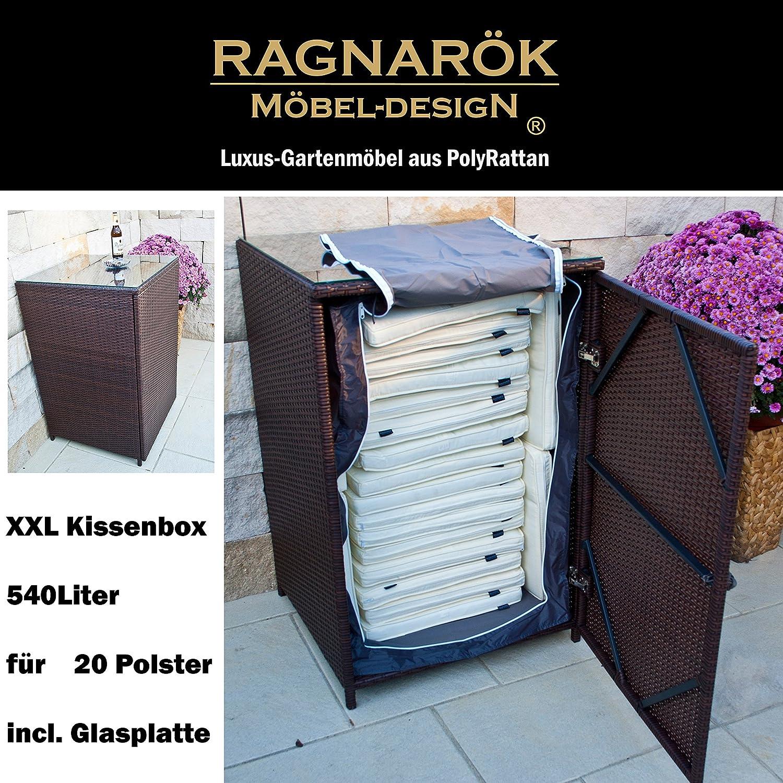 PolyRattan Kissenbox DEUTSCHE MARKE -- EIGNENE PRODUKTION 7 Jahre GARANTIE Garten Möbel incl. Glasplatte für 20 Sitzkissen Ragnarök-Möbeldesign (braun) Gartenmöbel Gartentisch Aluminium Rattan Beistelltisch, Stehttisch