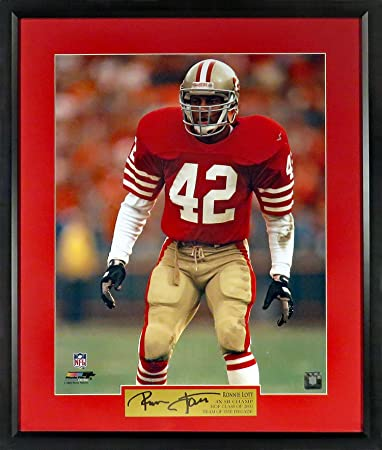"2113a2ea8 SF 49ers Ronnie Lott ""Intensity"" 16x20 Photograph (SGA Signature Series)  Framed"