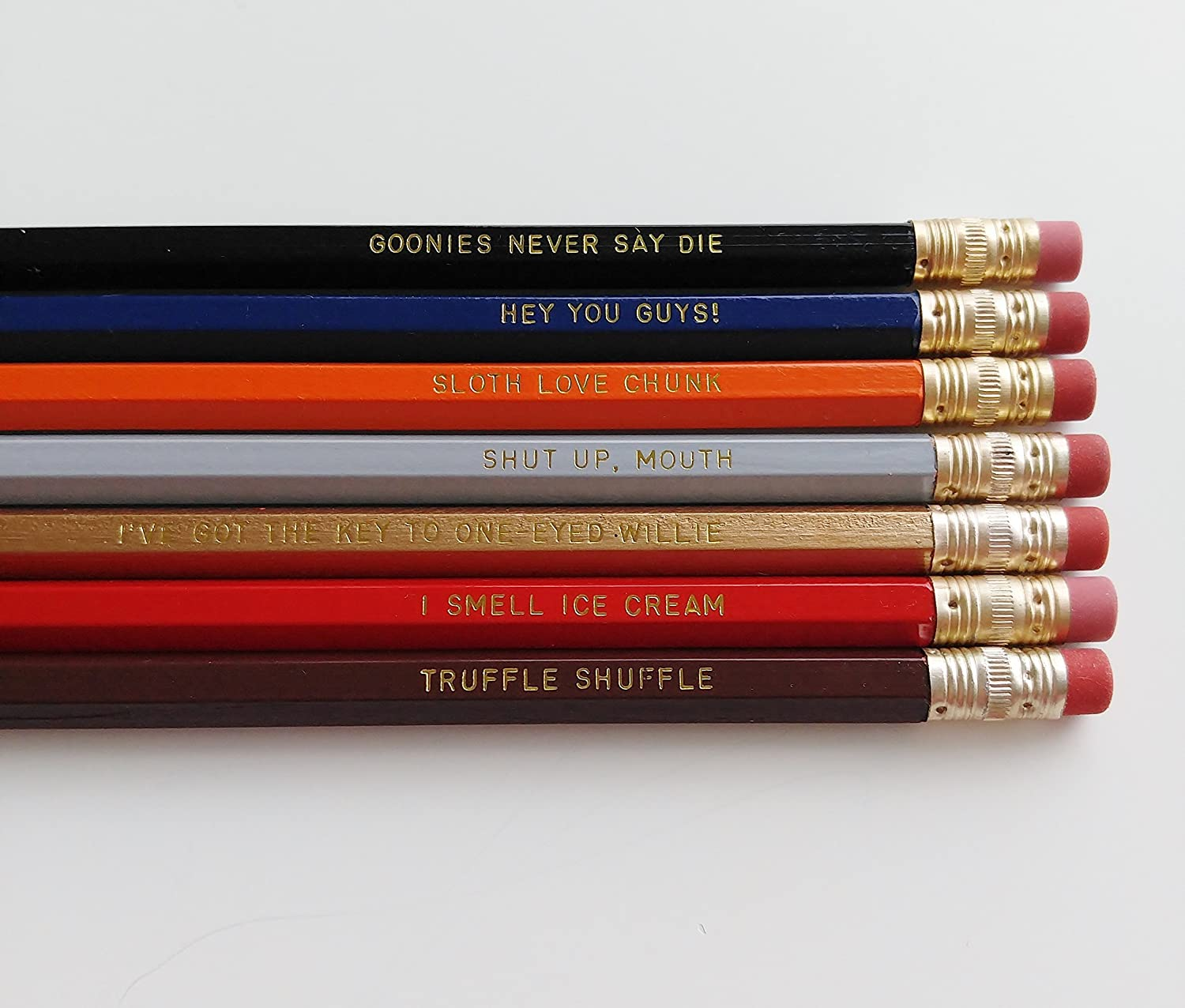 Goonies Engraved Pencil Set Goonies Gift Gold Foil Pencil Set Engraved Pencils Funny Pencils Hey You Guys Gift for Student Gift for Him