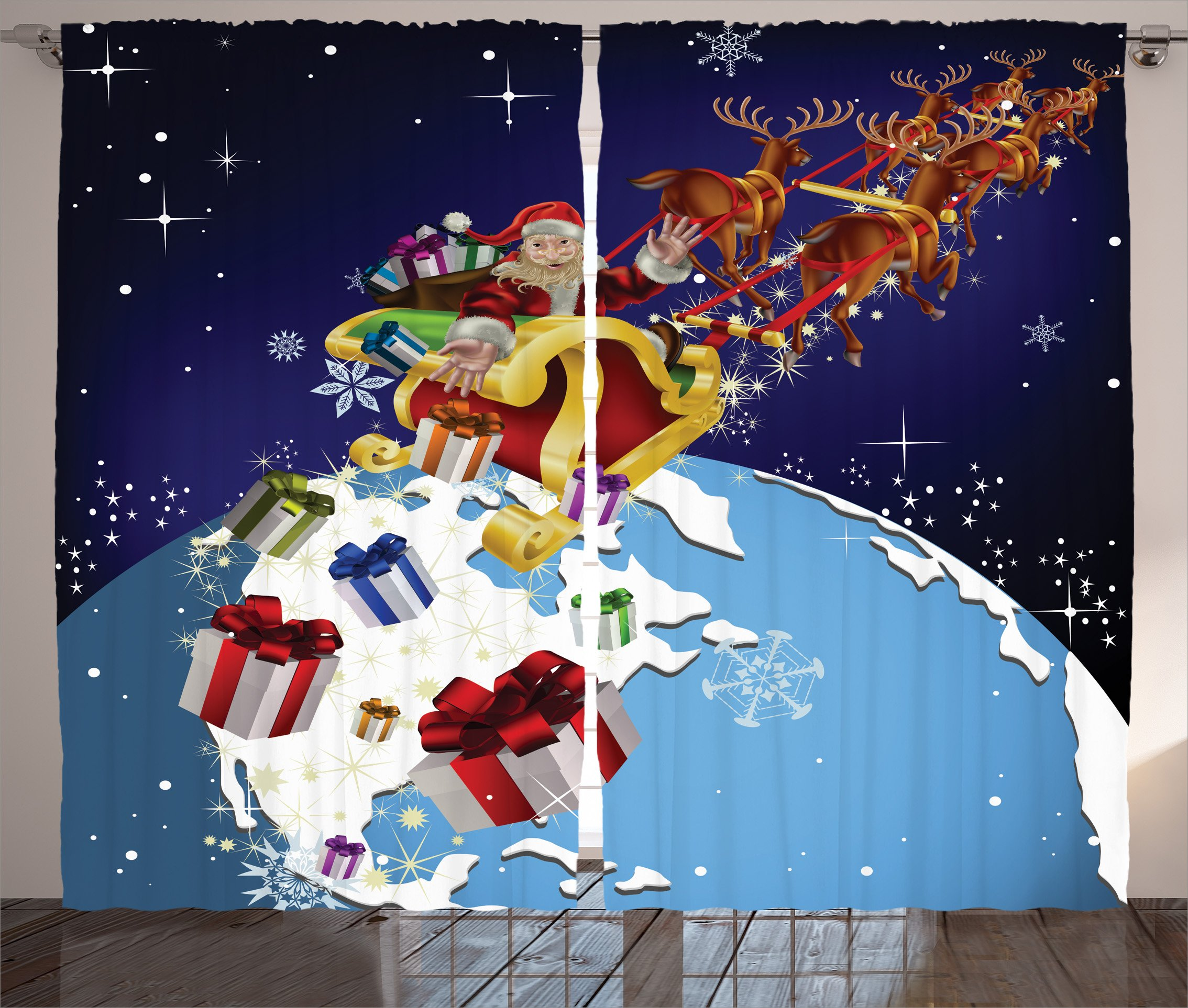 Ambesonne Christmas Decorations Collection, Santa in Outer Space Dropping Gifts to Earth Celestial Theme Europe America Kids, Living Room Bedroom Curtain 2 Panels Set, 108 X 90 Inches, Blue Red