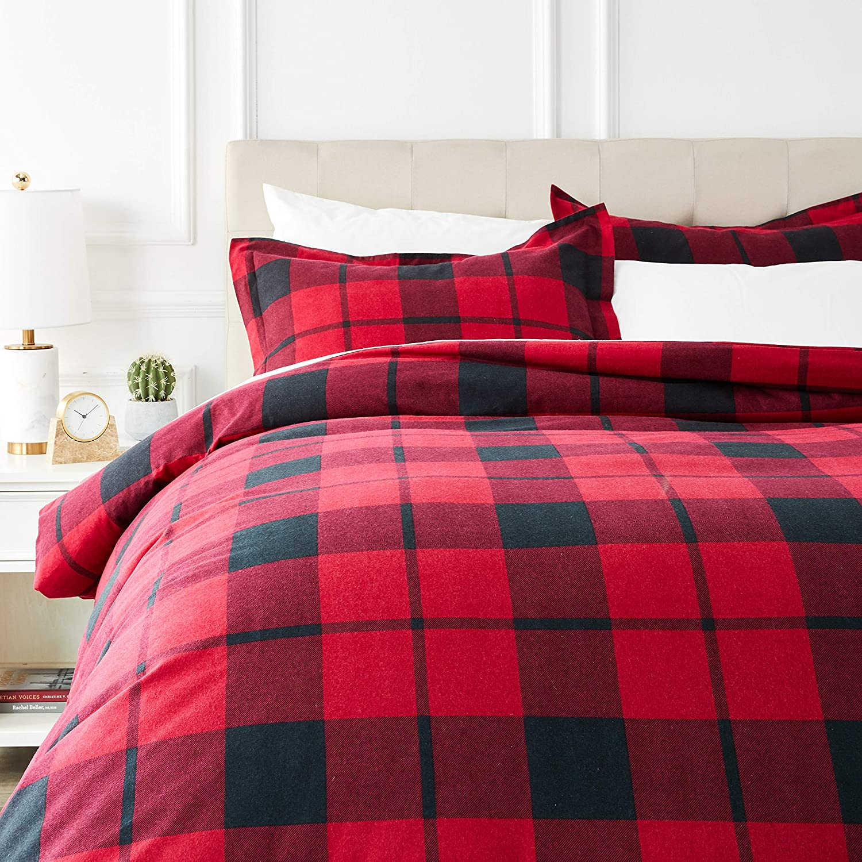 Amazon.com: AmazonBasics Everyday Flannel Duvet Cover and 2 Pillow