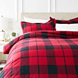 AmazonBasics Everyday Flannel Duvet Cover and 2 Pillow Sham Set - Full or Queen, Red Plaid