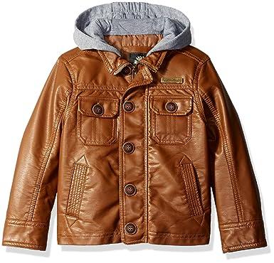 1cbf4f0322dda English Laundry Little Boys' Faux Leather Jacket with Fleece Hood, Saddle,  5/6: Amazon.in: Clothing & Accessories