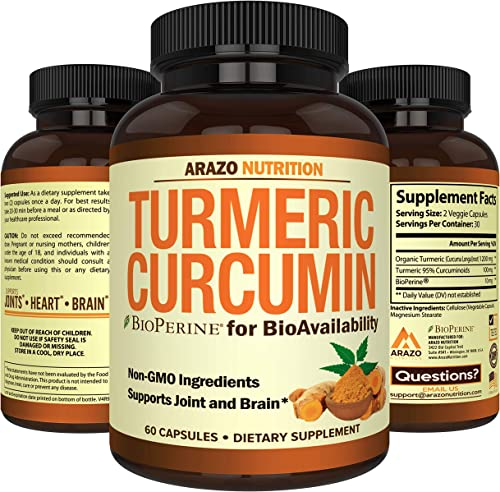 Turmeric Curcumin with BioPerine 1300MG with Black Pepper – Joint Support Nutritional Supplements – 100 Herbal Tumeric Root Capsules – Arazo Nutrition
