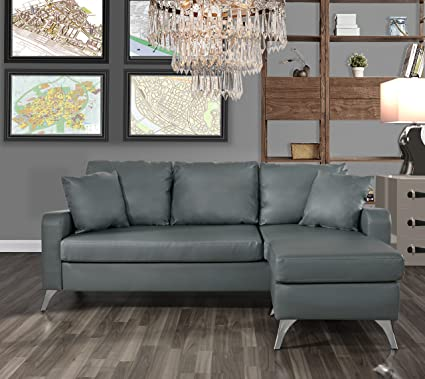 DIVANO ROMA FURNITURE Bonded Leather Sectional Sofa - Small Space  Configurable Couch (Light Grey)
