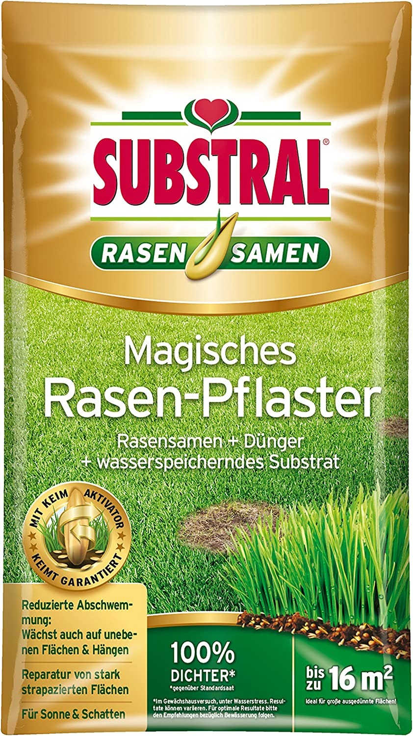 Substral Magic Lawn Patch, reparaciones de césped, semillas de césped, sustrato de primera calidad y fertilizante, 3,6 kg hasta 16 m²