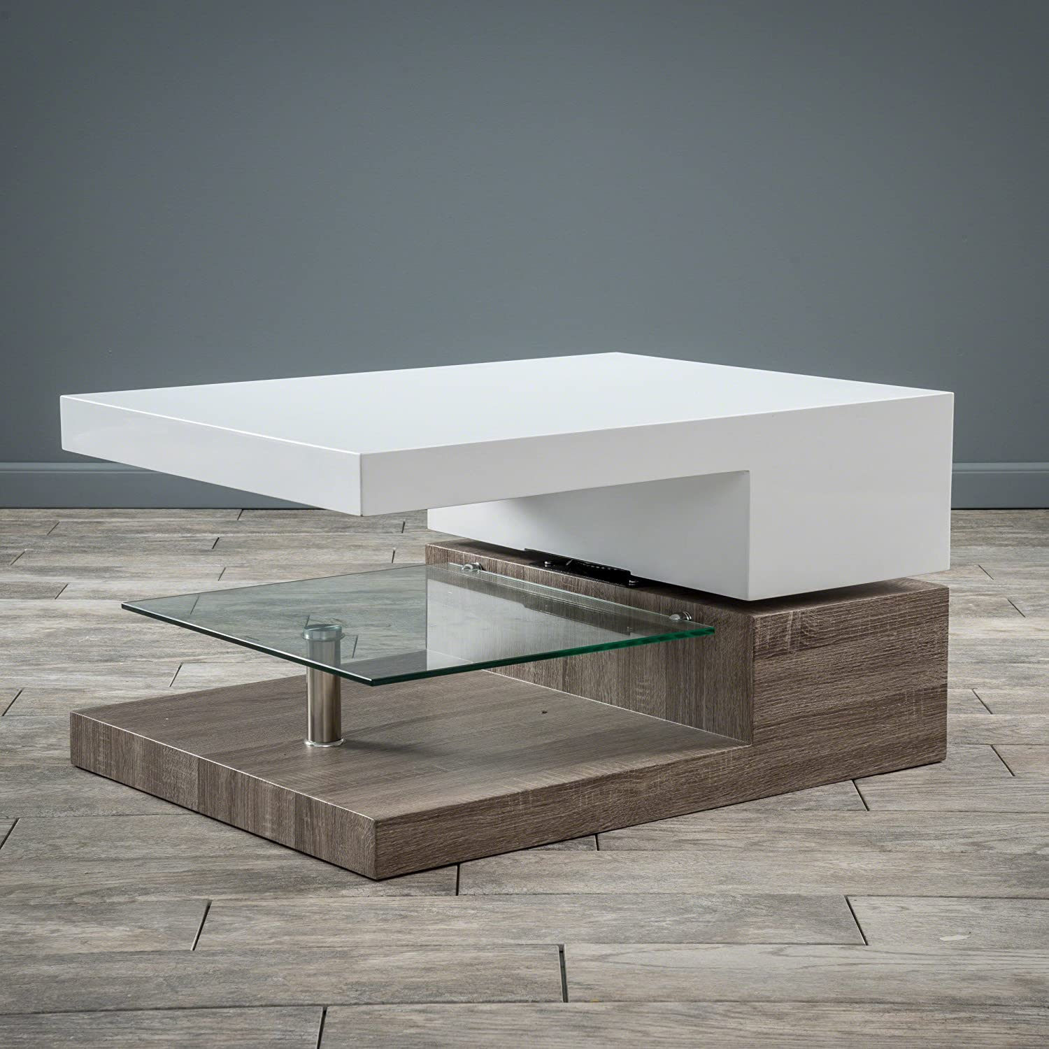 Amazon com great deal furniture emerson rectangular mod swivel coffee table w glass kitchen dining