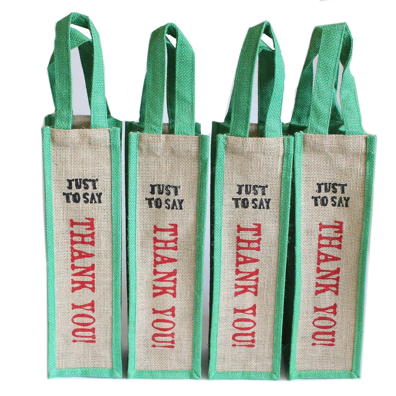 Porta bottiglia di vino naturale iuta eco-friendly bag da 4sacchi Just to say thank you–verde) Ancient Wisdom
