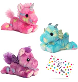J4U Jellyroll Unicorn, Sprinkles Dragon, and Tutti Frutti Pegasus Bright Fancies Plush Beanbag Animals
