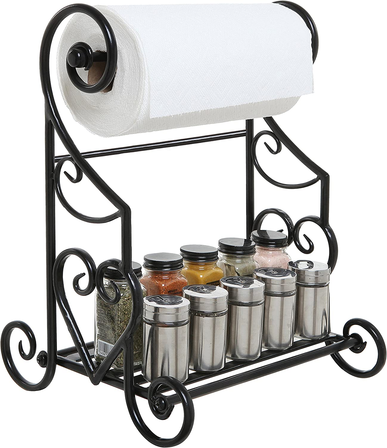 Amazon Com Mygift Freestanding Heart Scrollwork Black Metal Kitchen Countertop Paper Towel Holder Stand With Spice Condiment Shelf Rack