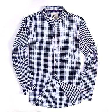 d002b5343b3f7 Mens Dress Shirts Plaid Long Sleeve Washed Casual Button Down Shirt (Blue White