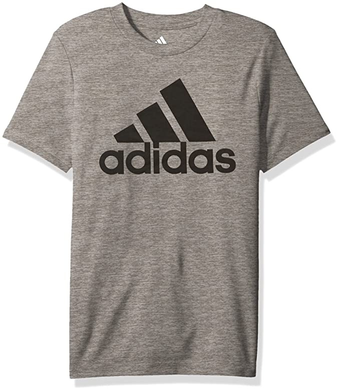 adidas Boys' Big Stay Dry Climalite Short Sleeve T-Shirt, Melange Charcoal Grey Heather, M (10/12)