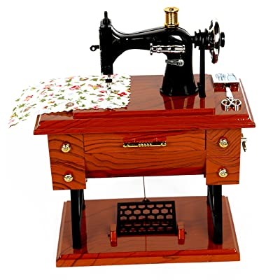 Vintage Mini Sewing Machine Style Plastic Music Box Table Desk