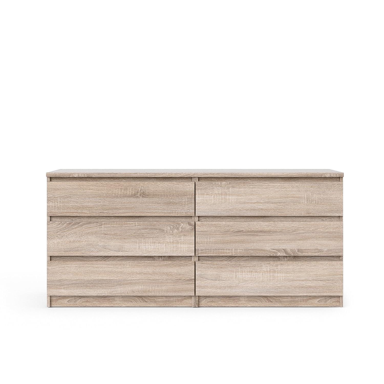 Black Wood Grain Tvilum Scottsdale 6 Drawer Double Dresser