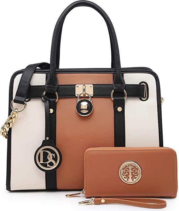 Women Handbags Purses Two Tone Satchel Bags Top Handle Shoulder Bags Work Tote with Matching Wallet