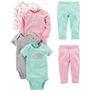 Simple Joys by Carter's Baby Girls' 6-Piece Little Character Set, Pink/Mint Ruffle, 3-6 Months