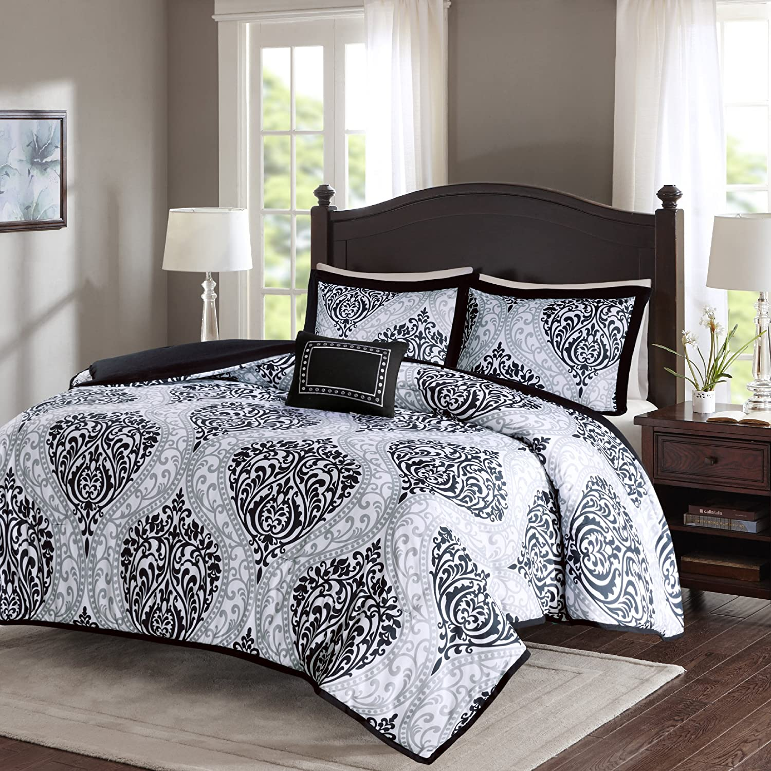 Comfort Spaces - Coco Comforter Set - 4 Piece - Black and White - Printed Damask Pattern
