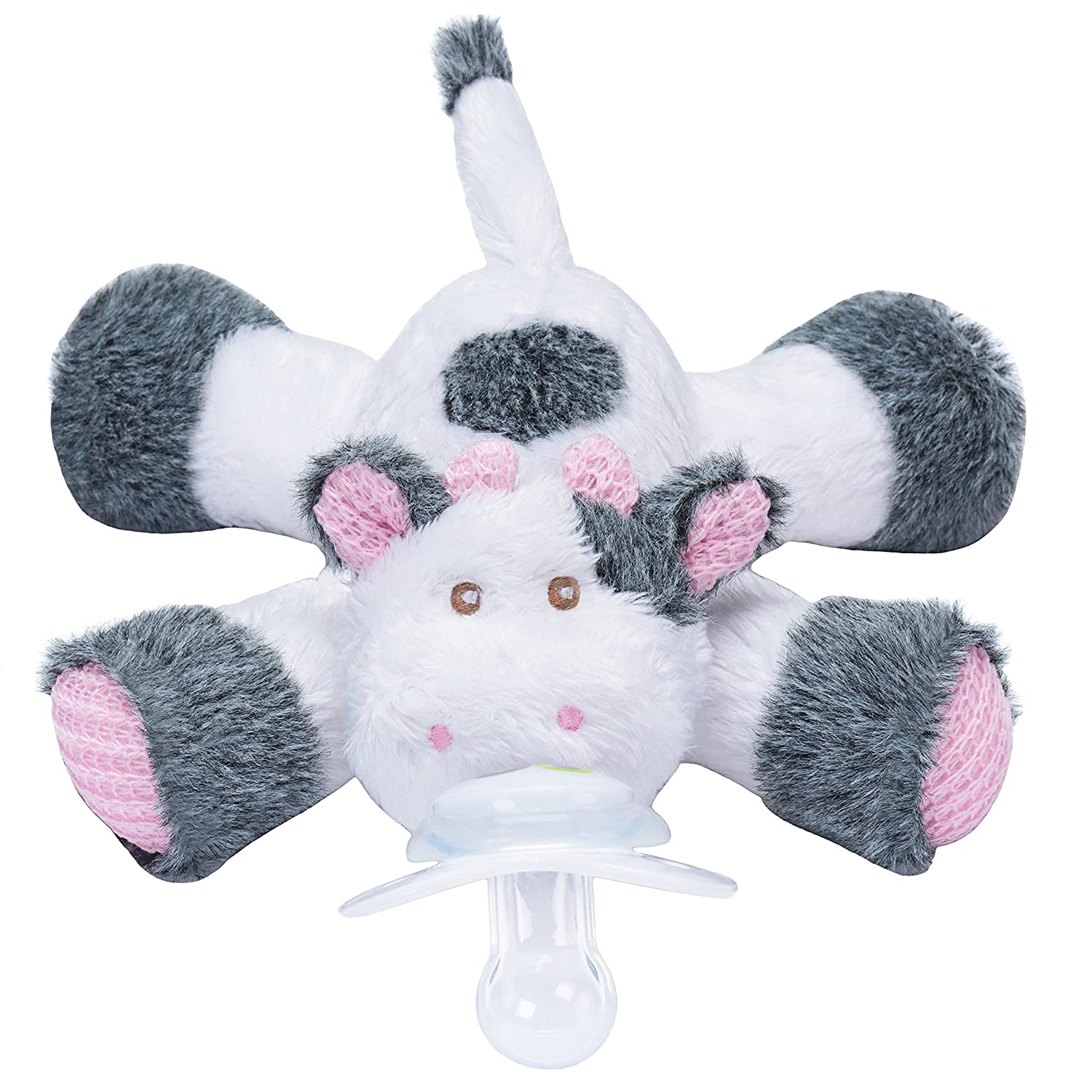 nookums paci plushies cow bud s pacifier holder