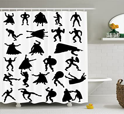Ambesonne Superhero Shower Curtain By Hero Silhouettes In Different Moves Action Energy Conflict Struggle Illustration