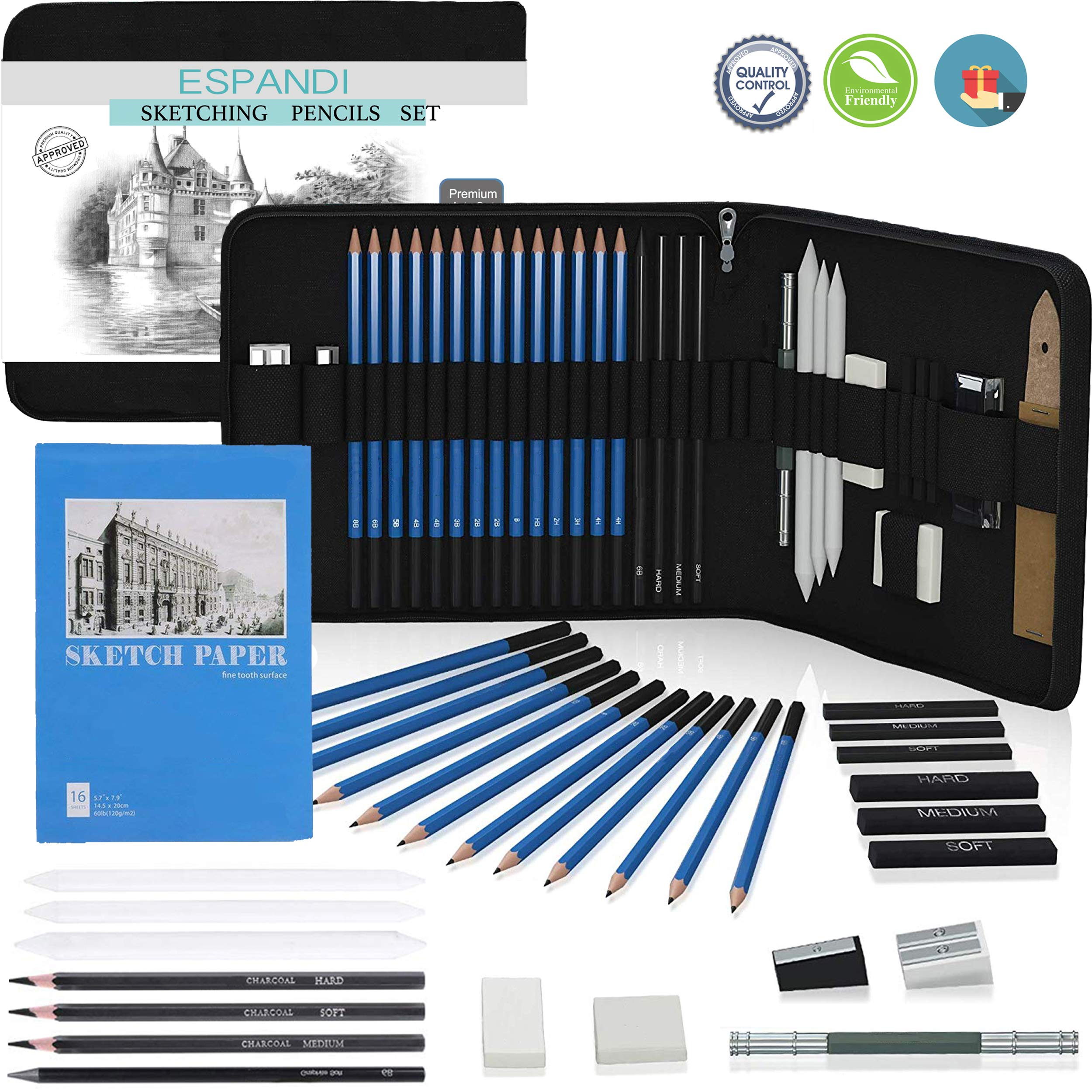 Iespandi Charcoal Drawing and Sketching Pencil Set for Beginners & Professionals; H&B Graphite Shading Wood Pencils; Art Supplies Kit for Artists; Tools and Sketch Pad for Adult, Teens and Kids by Iespandi