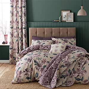 Painted-Style Floral Flowers Beige Reversible Cotton Blend Canadian Twin (135CM X 200CM - UK Single) Comforter Cover Set & Ring TOP Curtains Drapes