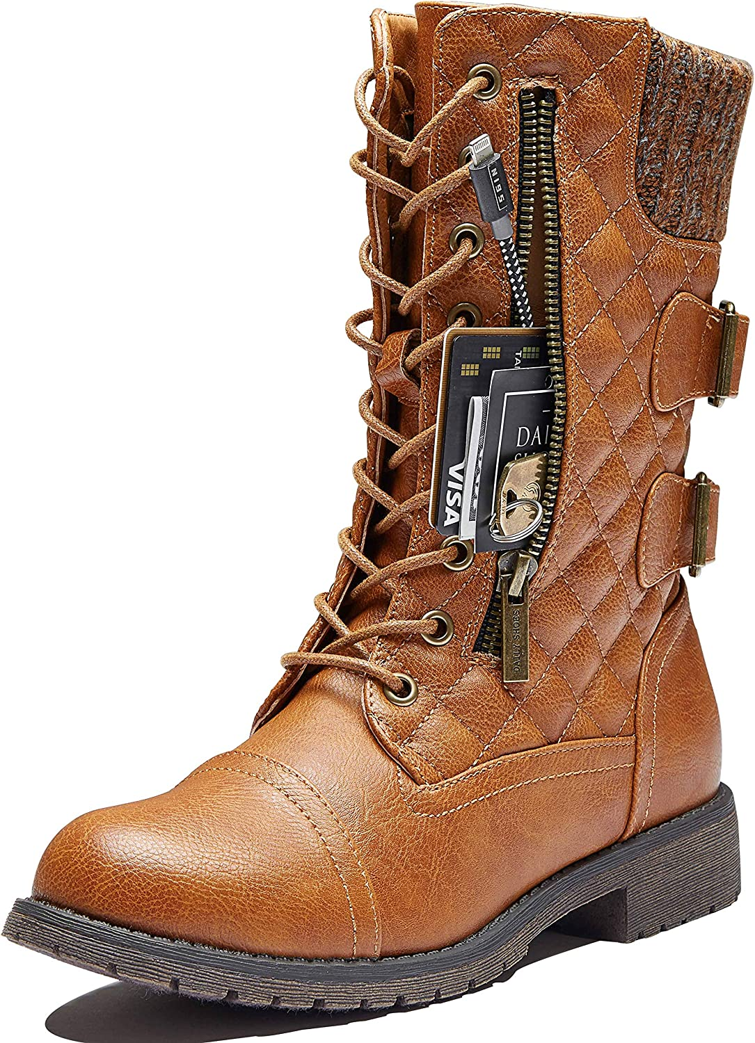 DailyShoes Women's Military Lace Up Buckle Combat Boots Mid Knee High Exclusive Credit Card Pocket Front Studded Booties