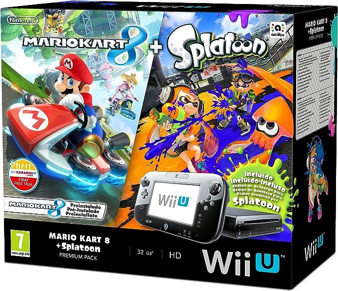 Nintendo Wii U - Consola Premium HW + Mario Kart 8 + Splatoon - Limitado: Amazon.es: Videojuegos