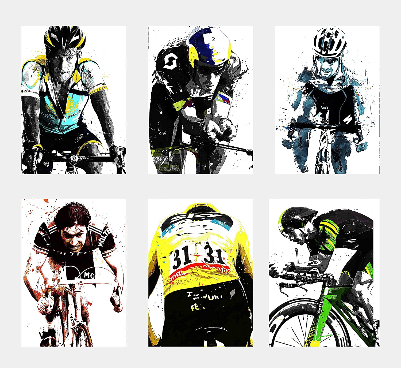 Wall Art Decor Sport Stars Cycling Triathlon Poster Prints Set of 6 Size A4 (21cm x 29cm) Unframed Chris Froome Eddy Merckx Greg LeMond Lance Armstrong Lionel Sanders Sebastian Kienle Tom Boonen