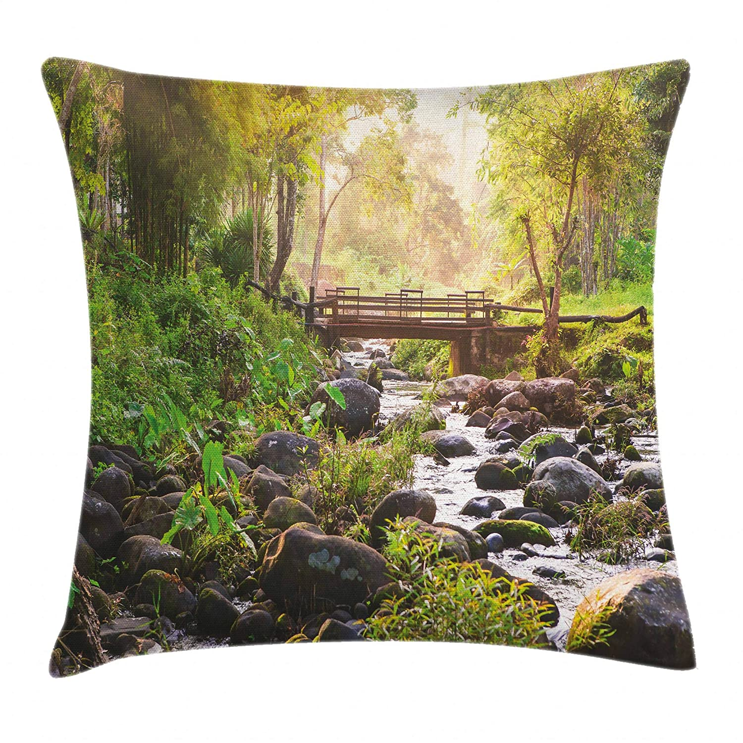 Decorative Square Accent Pillow Case Small Waterfall in Deep Forest Thailand Sunlight Morning Nature Scenery Ambesonne Landscape Throw Pillow Cushion Cover 18 X 18 Inches Green Grey Brown