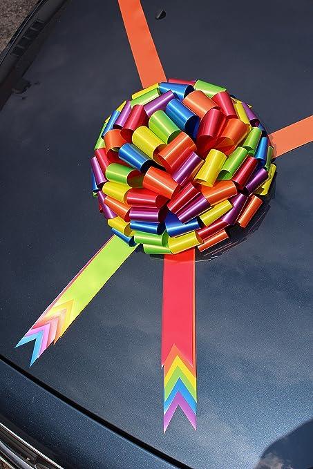 Lazo extragrande para coche, ideal como regalo de cumpleaños o bodas, colores del arcoíris, lazo de 30 cm: Amazon.es: Coche y moto