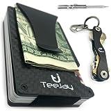 TeeJay Carbon Fiber Minimalist Wallet & Key Organizer Set. Premium Gift Box includes RFID Blocking Front Pocket Wallet And Modern Design Slim Pocket Keychain For Men and Women.