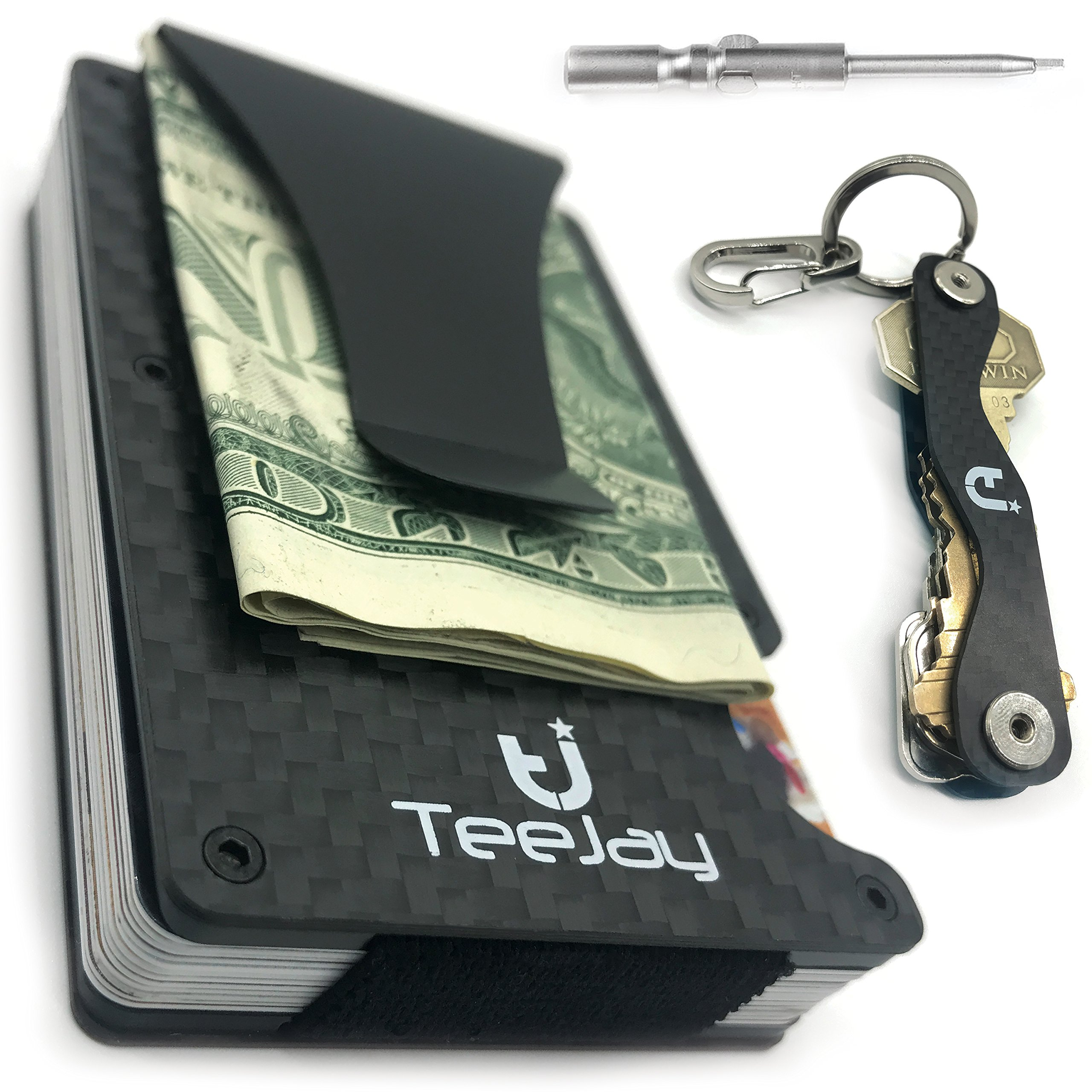 TeeJay Carbon Fiber Minimalist Wallet & Key Organizer Set. Premium Gift Box includes RFID Blocking Front Pocket Wallet And Modern Design Slim Pocket Keychain For Men and Women
