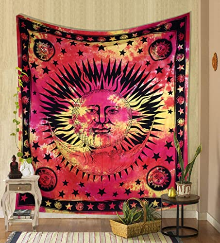 THE ART BOX Red and Yellow Psychedelic Sun Moon Stars Tie Dye Mandala Tapestry Hippie Hippy Celestial Wall Hanging Indian Trippy Bohemian Tapestries Sun Wall Tapestry for Bedroom Trippy Room D cor