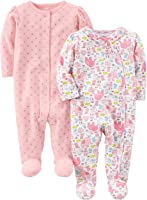 Simple Joys by Carter's Girls Baby 2-Pack Cotton Footed Sleep and Play