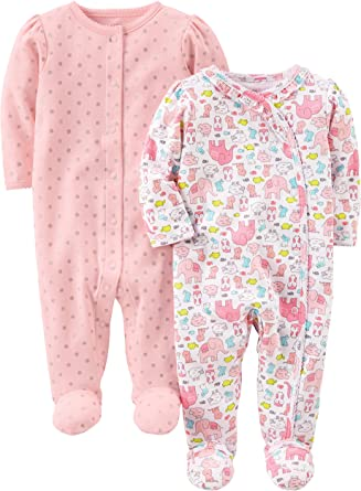 Simple Joys by Carters baby-girls 2-Pack Cotton Footed Sleep and Play Sleepers