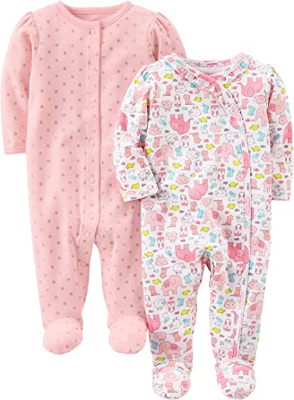 a59ded00a9d35 Simple Joys by Carter's Baby Girls' 2-Pack Cotton Footed Sleep and Play,