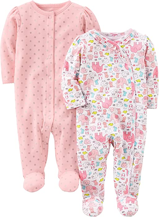 135c6f8ba3e7 Amazon.com  Simple Joys by Carter s Baby Girls  2-Pack Cotton Footed ...