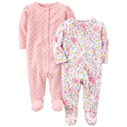 Simple Joys by Carter's Baby Girls' 2-Pack Cotton Footed Sleep and Play, Animals/Pink Dot, Newborn