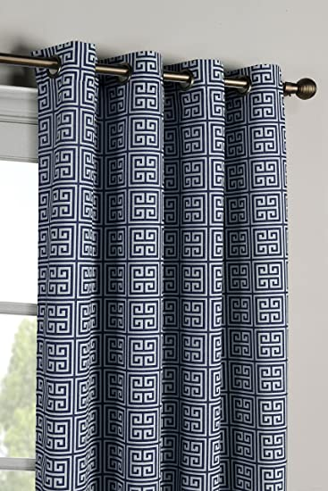 Window Elements Greek Key Cotton Blend Extra Wide 108 X 96 In Grommet Curtain Panel