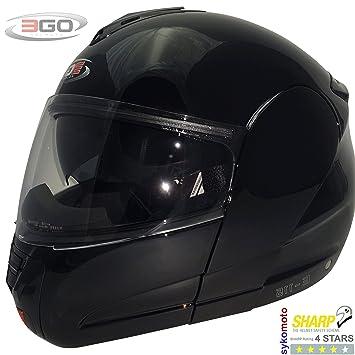 3GO E-115 CASCO MODULAR MOTOCICLETA TURISMO CARRETERA DVS ECE ACU (XS, NEGRO
