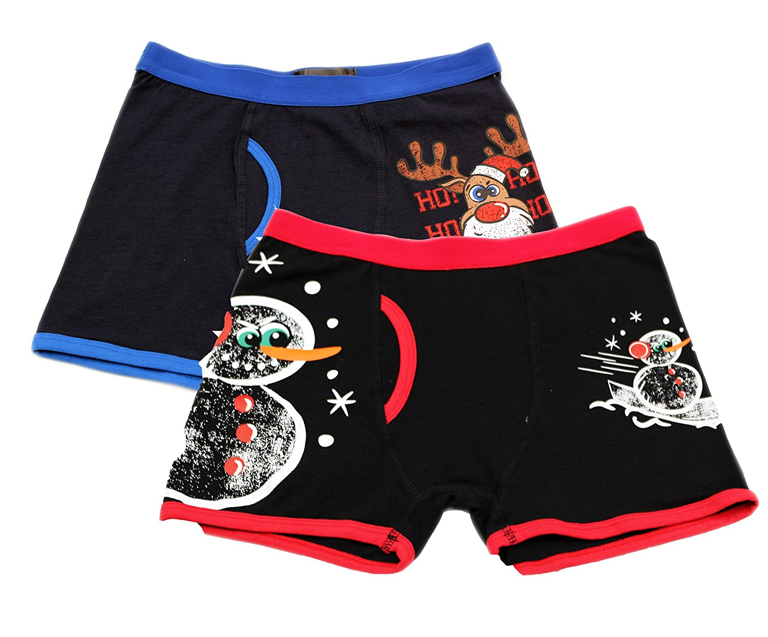 Dots & Dreams Boy's Holiday 2pc Red/Black Boxer Briefs