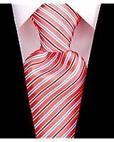 Scott Allan Mens Woven Striped Necktie - Salmon