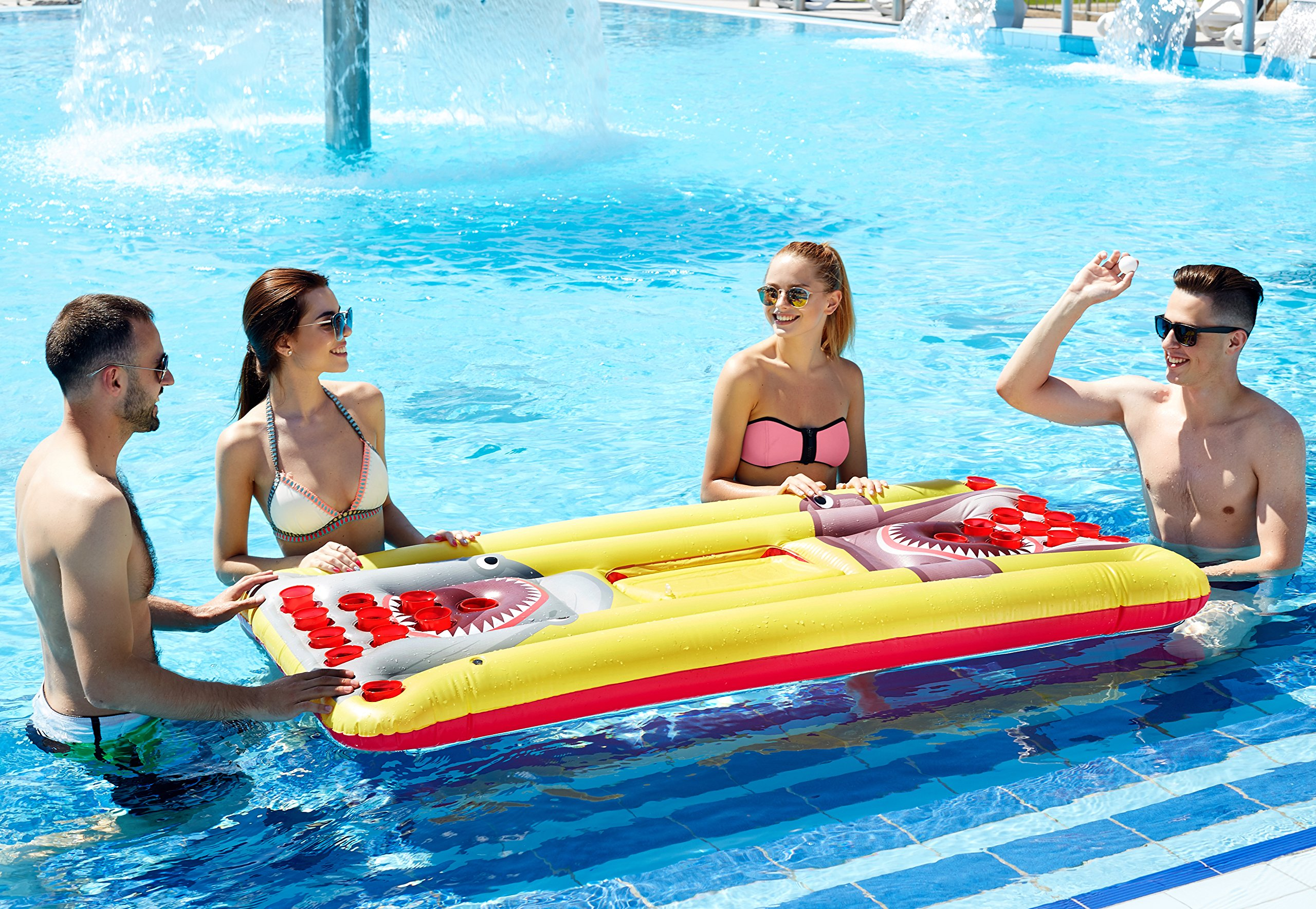 Kenley Beer Pong Pool Float - Inflatable Floating Table with Cooler and Holes - Swimming Pool Party Drinking Games for Adults - Giant Lounge Bar Raft Set by Kenley