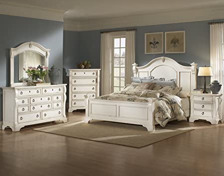 American Woodcrafters 2910-430 Heirloom Nightstand, Antique White