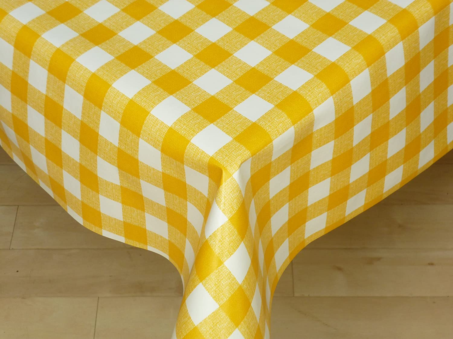 the tablecloth shop yellow gingham vinyl table cover tablecloth 2 metres amazoncouk kitchen u0026 home