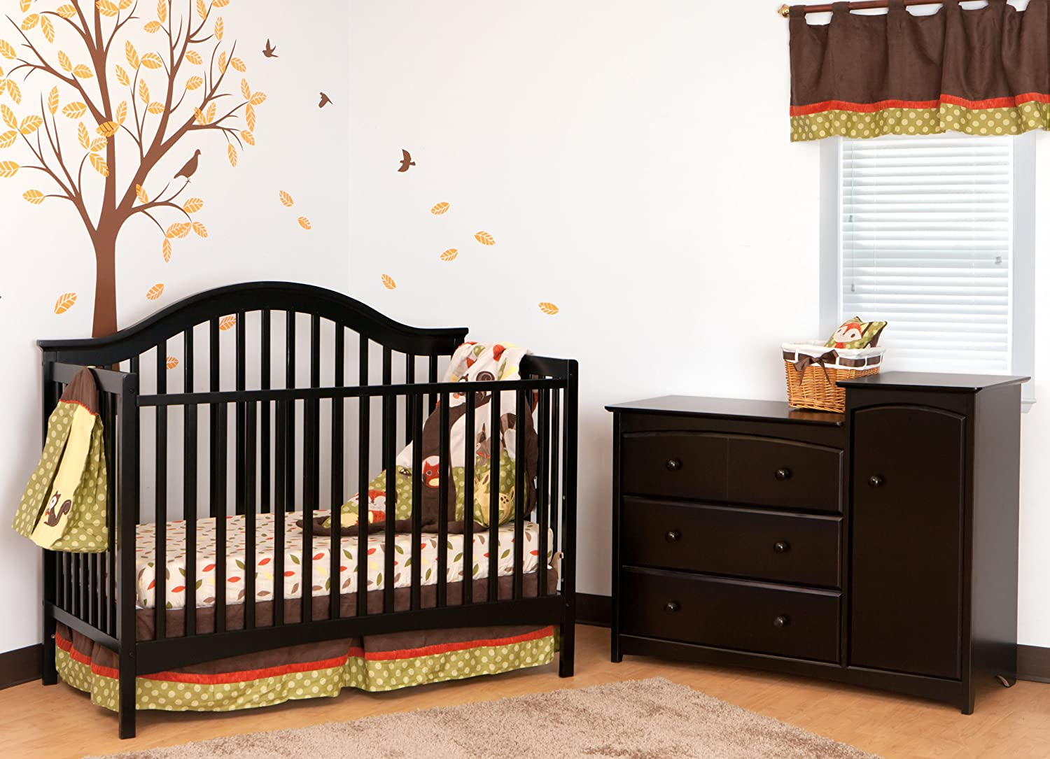 Baby cribs amazon - Amazoncom Stork Craft Ravena Fixed Side Convertible Crib Black By Baby Crib With Changing Table And Dresser Attached