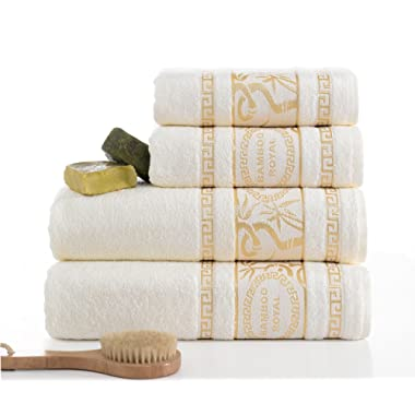 ixirhome Turkish Bamboo Towel Set,%70 Bamboo%30 Turkish Cotton, 2 Bath Towels and 2 Hand Towels - Natural, Ultra Absorbent and Ultra Soft (Gift Set of 4) (Light Cream)