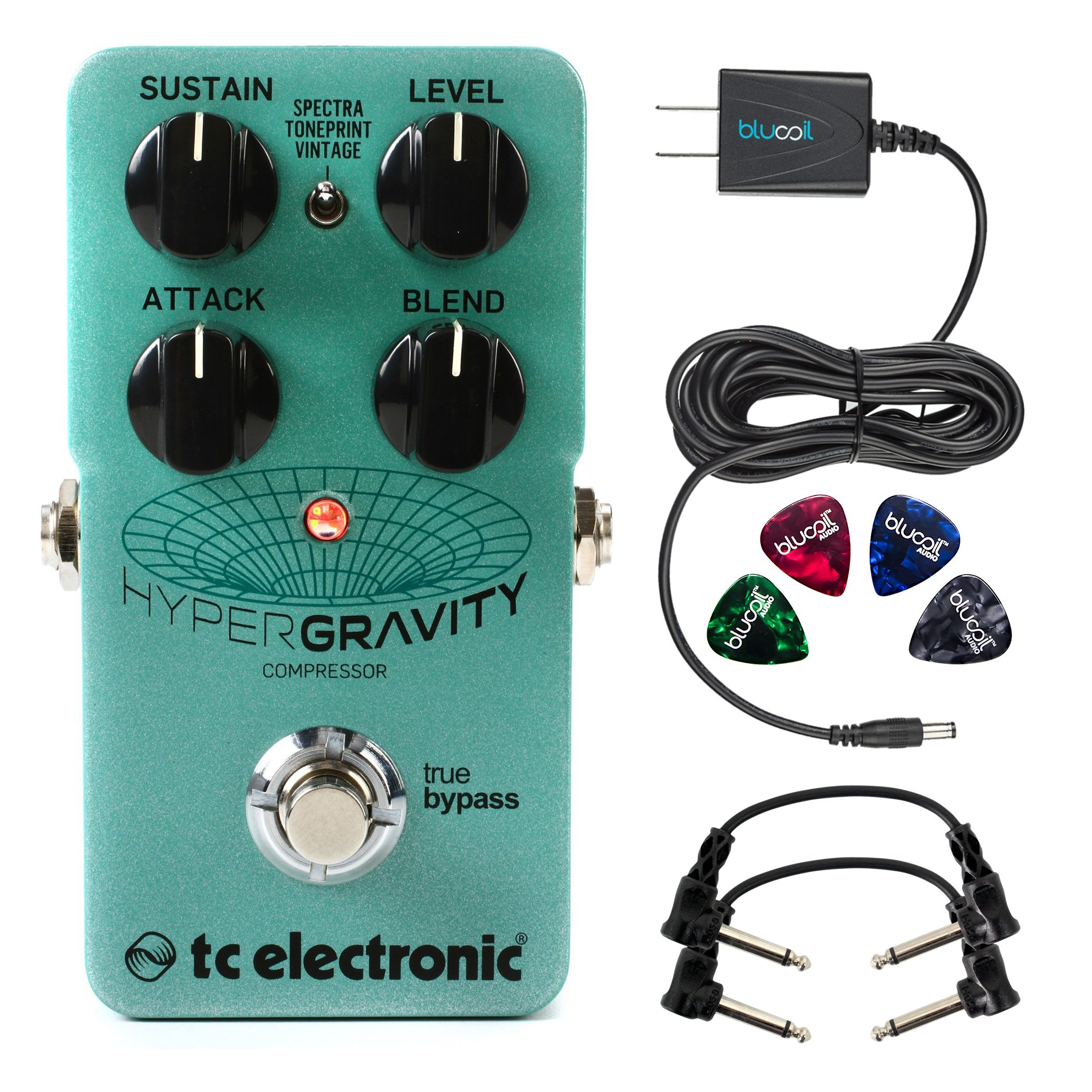 TC Electronic HyperGravity Compressor -INCLUDES- Blucoil Power Supply Slim AC/DC Adapter for 9V DC 670mA with US Plug, 2x Hosa CFS-106 Molded Right-Angle Guitar Patch Cables AND Blucoil Guitar Pick V2
