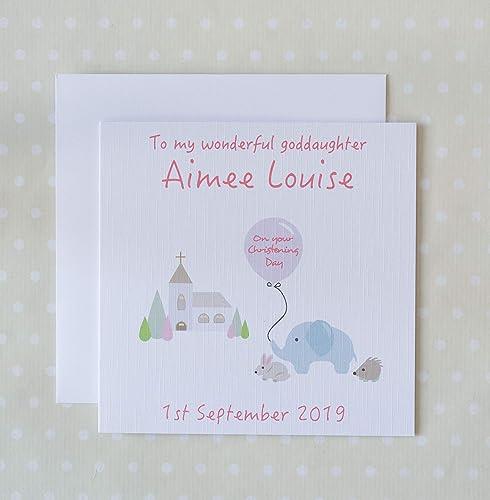 Pink Girl Elephant Granddaughter Niece Personalised Handmade Naming Day Card