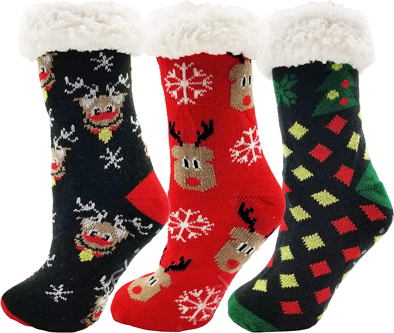 Womens Christmas Fur Lined Socks Nordic Warm Thick Fabric Slip-On Slippers NN